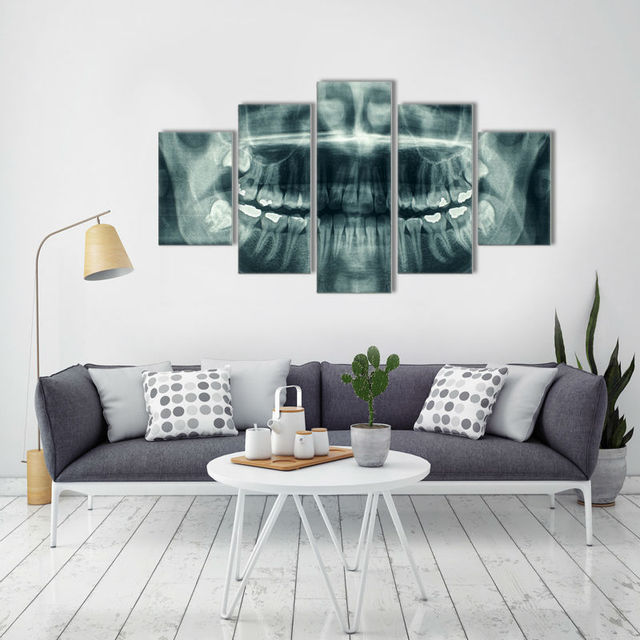 Hd print 5 pcs canvas art dental painting modern home decor wall art picture living room