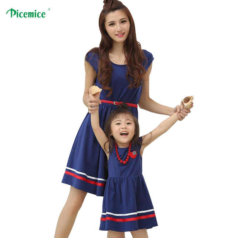 ครอบครัวเสื้อผ้าแม่ลูกสาวชุด 2019 สไตล์ฤดูร้อนผู้หญิงฝ้ายชุดแม่ลูกสาวกับเข็มขัดและสร้อยคอ