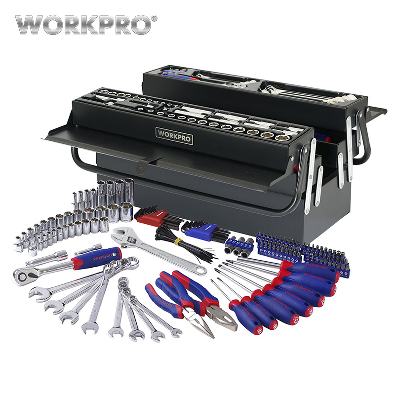 WORKPRO 183PC Tool Set Home Tools Metal Tool Box Set Repair Tool Kits Screwdriver Set Socket Set set peperuna set