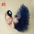 2016 Nuevo Estilo de 7 Colores de Las Muchachas mullido del tutú del Pettiskirt Del Vestido de Bola de tulle Tutu falda con vendas de la flor Recién Nacido