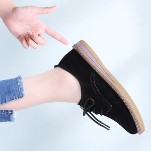Image 5 - STQ 2020 אביב נשים דירות נעלי נשים סניקרס עור זמש תחרה עד נעלי סירת בוהן עגול דירות מוקסינים אוקספורד עבור נשים 989