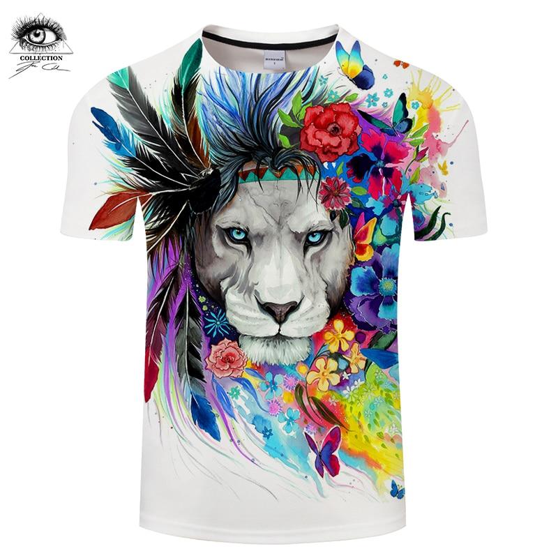 Re della Foresta da Pixie freddo Arte 3D T-shirt Da Uomo T-Shirt Leone Stampato Magliette di Estate Magliette e camicette Magliette Più 6XL Camiseta Marca ZOOT