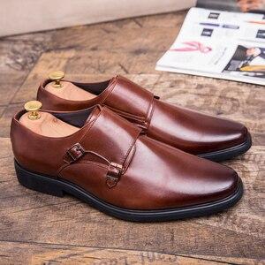 Image 3 - Zimnie ブランド男性クラシックバックル厚い底ドレスシューズ男性ハンドメイドの高級フォーマルビジネスオフィス靴革の靴