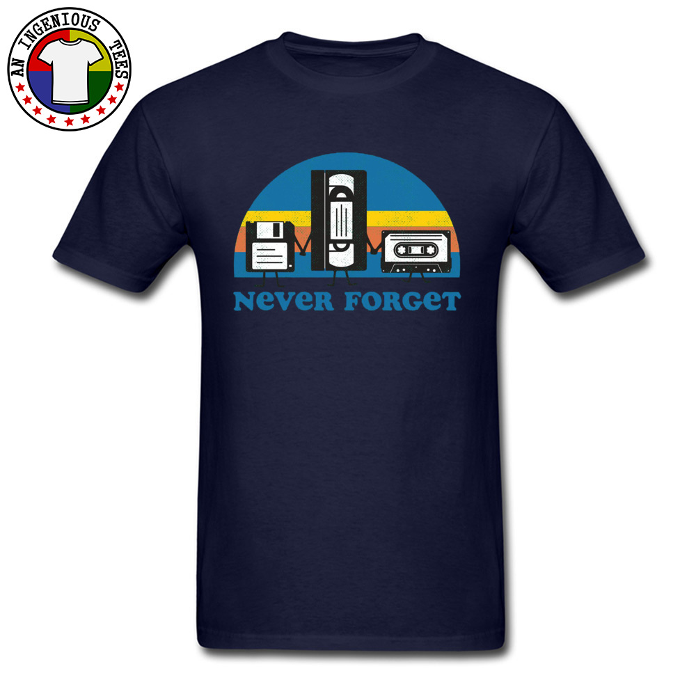 Never-Forget-disc-cassette- Family Tops Shirts for Men 100% Cotton Fall Crewneck Tshirts Simple Style Tops T Shirt Discount Never-Forget-disc-cassette- navy