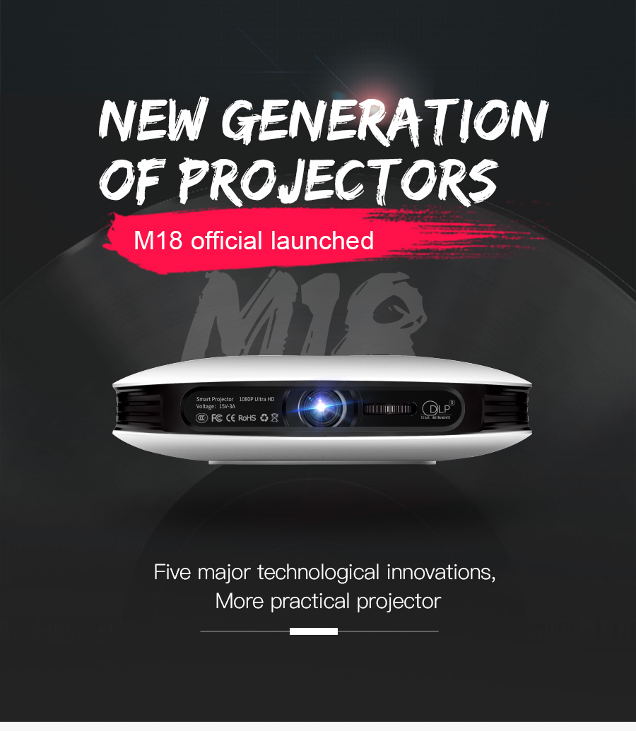 AODIN M18 Mini Projector DLP HD 3D Pocket projector HDMI 1080P 4K LED home theater projector Android 5G WIFI portable projector-01