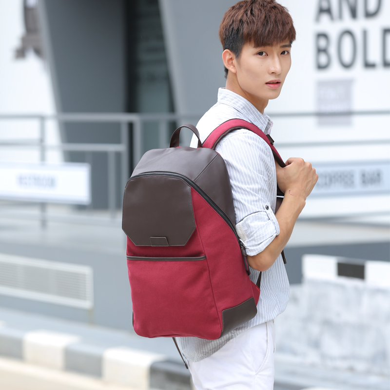 OSOCE Multi-functional Business Casual Backpack Water-resistant Canvas PU Bags 15 Laptop Travel School Unisex Fashion Bags B2