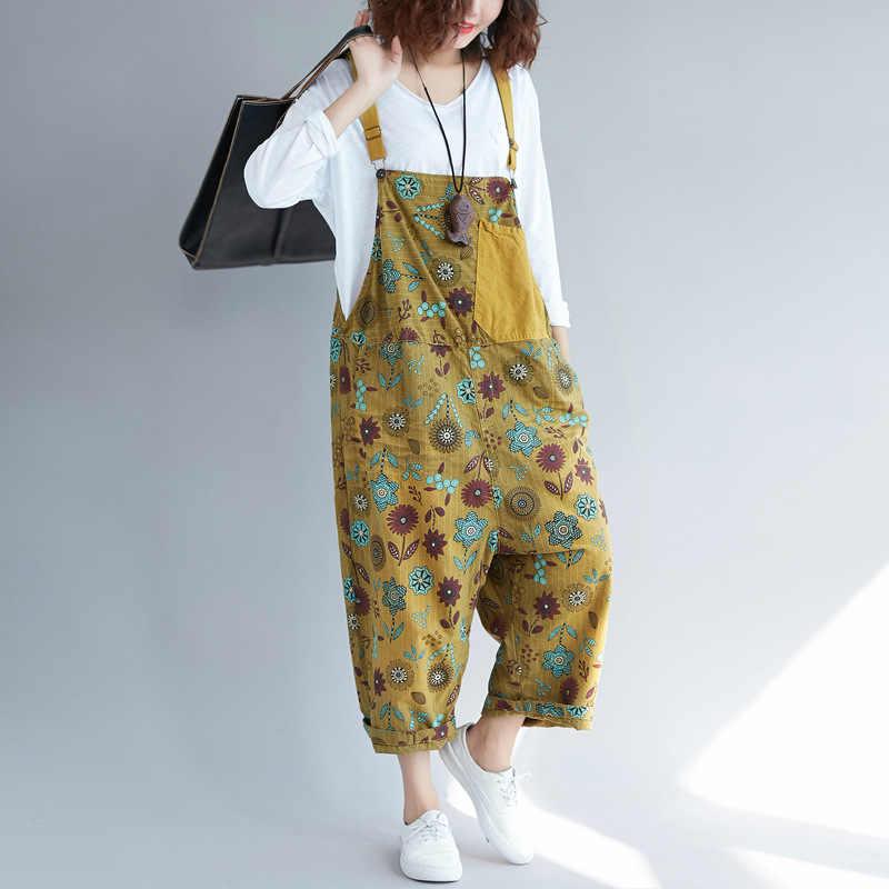 Женские повседневные брюки до щиколотки, Свободные Комбинезоны с принтом, комбинезоны с карманами в цветочек, модные женские комбинезоны в стиле пэчворк