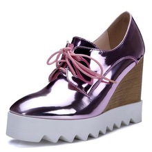Gold Silver Pink Blue Women Patent Leather Oxfords Wedge High Heels Triffle Platform Elevator Shoes Casual Creepers Thick Sole