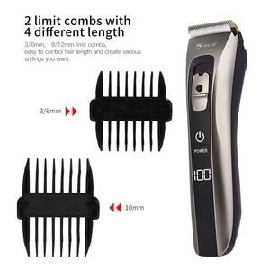Image 4 - כל גוף רחיץ חשמלי שיער קליפר USB נטענת שיער מכונת חיתוך ילד מבוגר שיער גוזם סוללה שנותר תצוגה