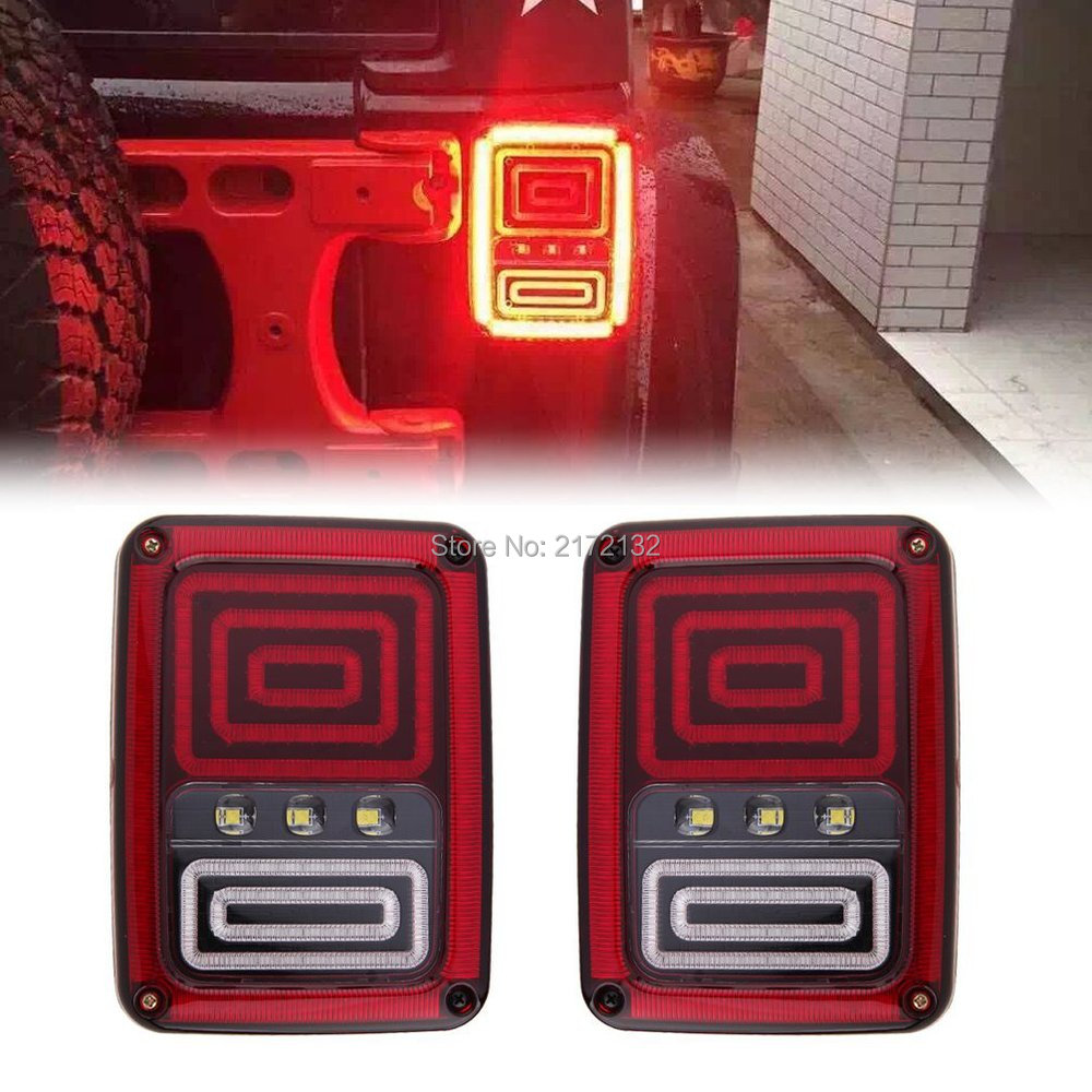 1Pair Led Tail Lights with DRL Brake Rear Turn Signal Reverse Lamp for 07-15 Jeep Wrangler JK for vw volkswagen polo mk5 6r hatchback 2010 2015 car rear lights covers led drl turn signals brake reverse tail decoration