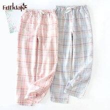 Fdfklak парные пижамы брюки повседневные хлопковые домашние штаны одежда для отдыха штаны для сна женские или мужские ночные трусы женские брюки