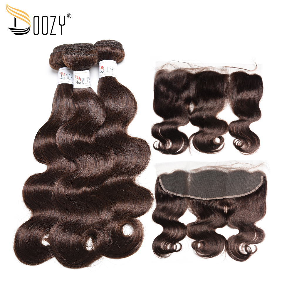 Doozy Medium Brown Color 4 Brazilian Hair Extensions Remy Body Wave Human Hair 3 Bundles With Lace Frontal Closure