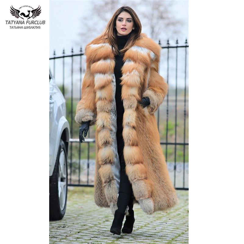 Tatyana Furclub manteau de fourrure réel or manteau de fourrure de renard 120 CM x-long luxe or fourrure de renard veste avec grand col rabattu épais chaud