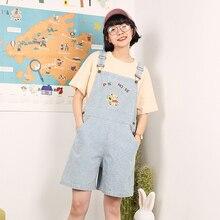 Дизайн, консервативный стиль, Забавный милый медведь, надпись, вышивка, женские летние джинсовые шорты, в полоску, с принтом, джинсовые комбинезоны
