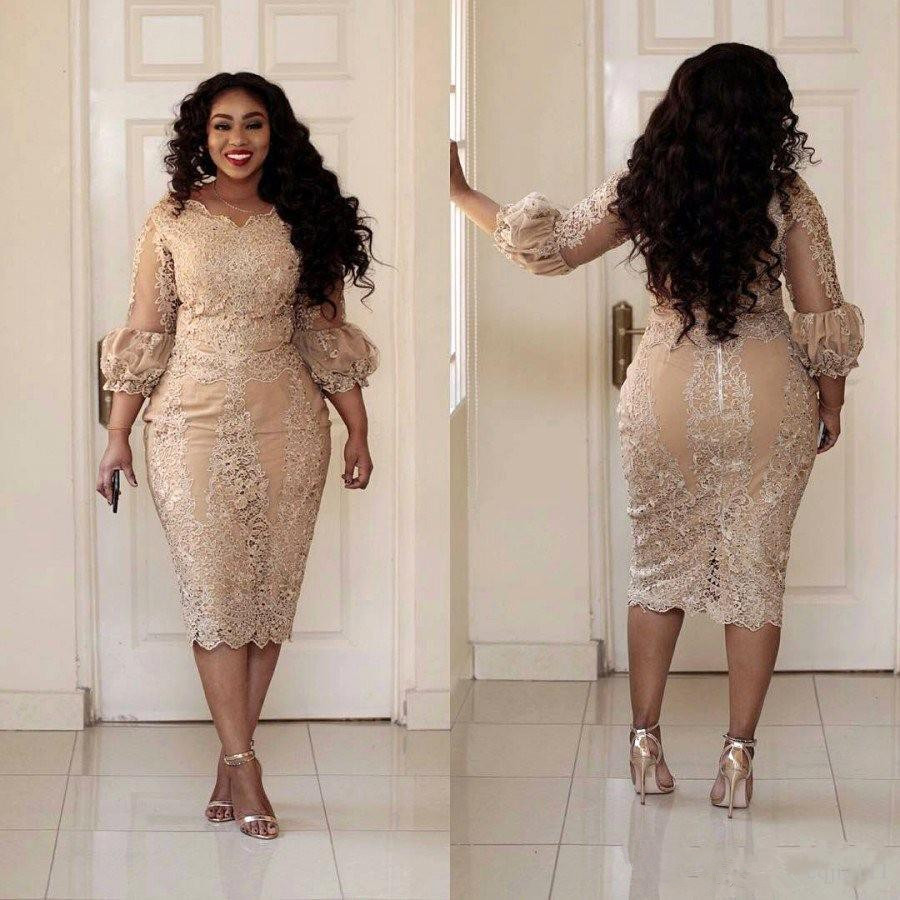 Champagne 2019 Cocktail Dresses Sheath V-neck 3/4 Sleeves Lace Beaded Plus Size Short Elegant Party Homecoming Dresses