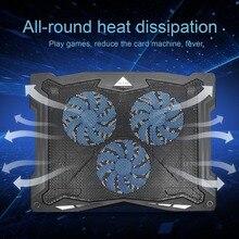 Портативный ультра-тонкий долгий срок службы регулировка угла воздушного потока Светодиодный свет с питанием от USB 3 вентилятора коврик для охлаждения ноутбука охлаждающая подставка