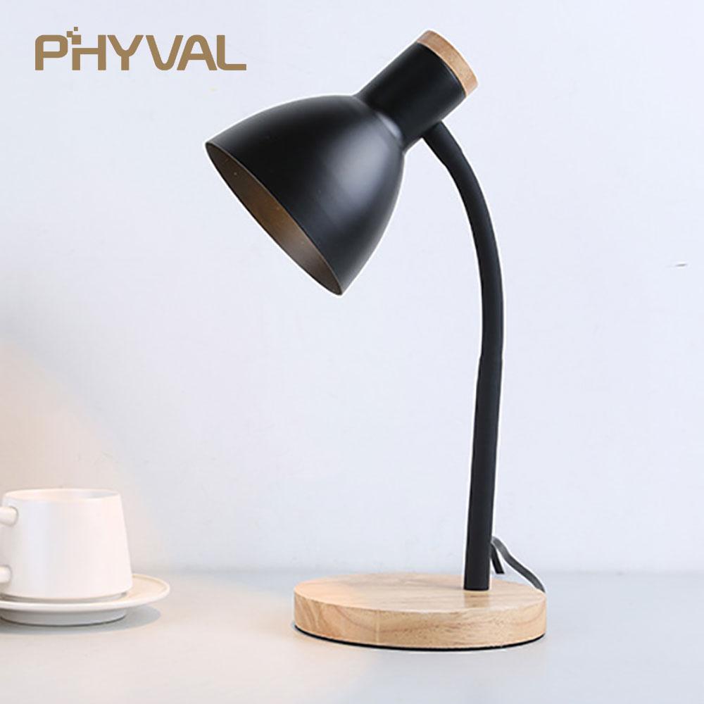 Table Lamp LED Desk Lamp Study Lamp Night Light for Bedroom Bedside Lights Wood LED Desk
