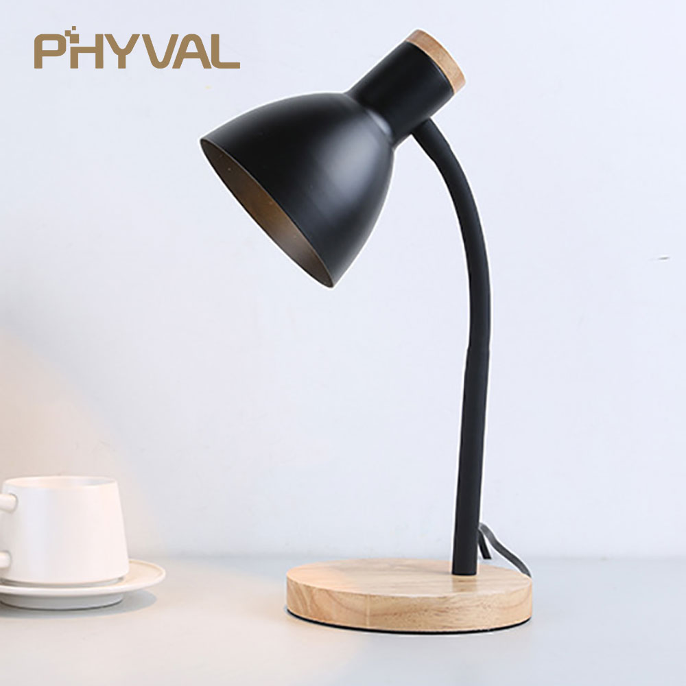 Table Lamp LED Desk Lamp Study Lamp Night Light for Bedroom Bedside Lights Wood LED Desk Light Black & White Curved Lamppost E27 desk lamp table lamps for bedroom study livingroom night light simple and stylish bedside decorative lamp