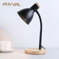 Table Lamp LED Desk Lamp Study Lamp Night Light for Bedroom Bedside Lights Wood LED Desk Light Black & White Curved Lamppost E27