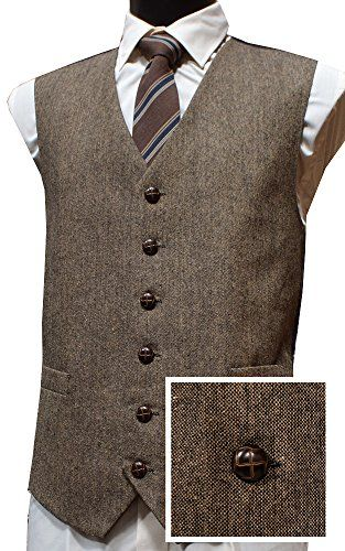2016 2 Styles Vintage British Brown Wool Tweed Vest Men Formal Slim Fit Suit Vest Men Wedding Waistcoats Hot Sale Plus Size 6XL