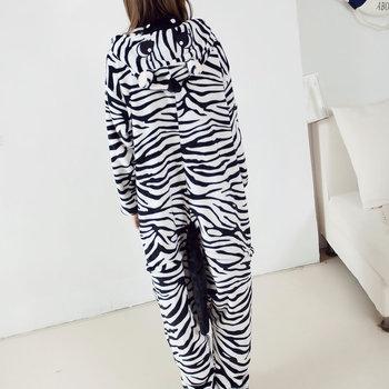Zebra Onesie piżamy Kigurumi zwierząt Cosplay kostium Halloween rodzina piżamy damskie tanie i dobre opinie Kostiumy Unisex Dla dorosłych Kombinezony i pajacyki Cait sithów Zestawy Poliester anime ANIMAL IFLIFE