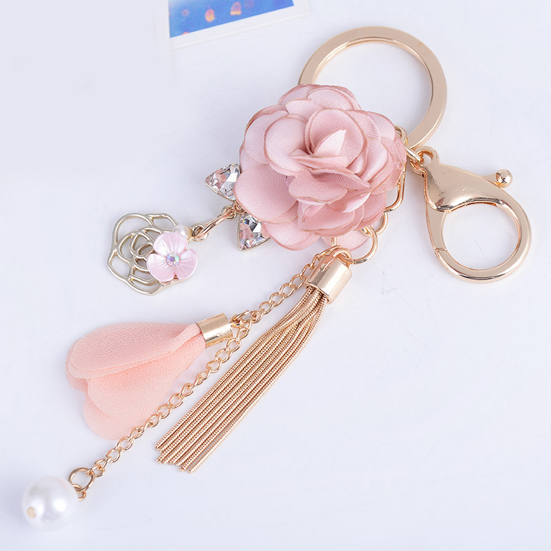 New Flower Keychain Bag Pendant Bag Holder Crytals Strass Women Bag Flower Charm Key Chain Buckle Key Ring CH904