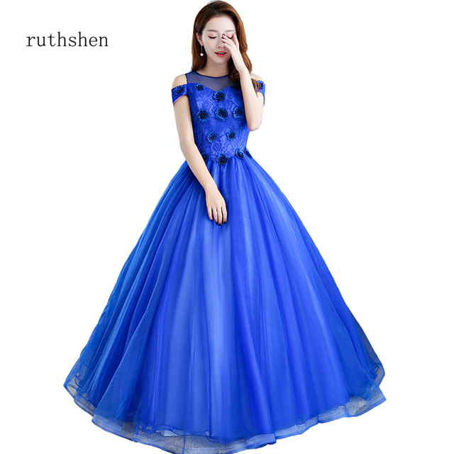 ruthshen Sweet 16 Quinceanera Dresses Royal Blue Ball Gowns Lace Flowers  Quinceanera Gowns Prom Dress Vestidos Debutantes 2018 451b74900f32