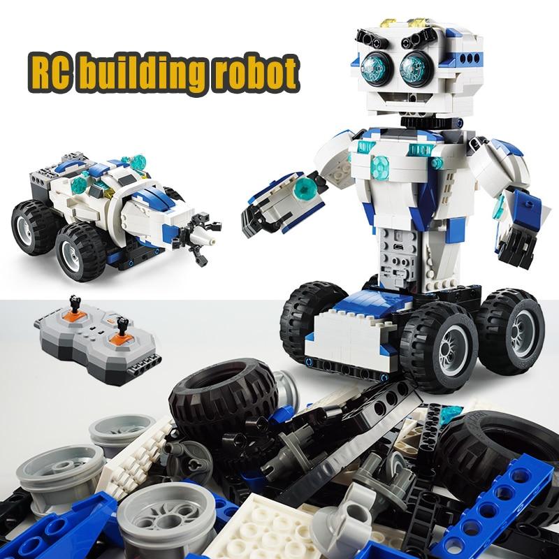 Bloques de construcción de Robot Walkable a distancia bloques de Robot creativos juguetes educativos para niños ladrillos de juguete de Control remoto-in Bloques from Juguetes y pasatiempos    1
