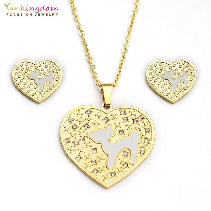 Yunkingdom new heart animal design titanium jewelry sets stainless steel pendant necklace earrings for women UE0177