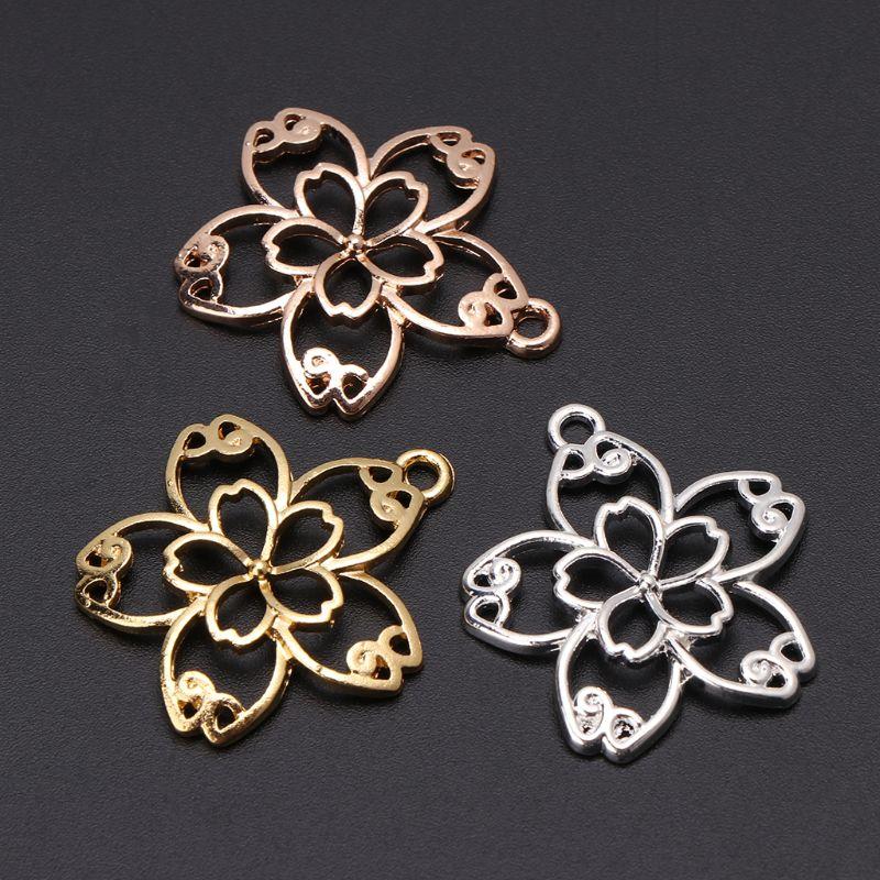 5 Pcs DIY Handmade Pendant Jewelry Frame Mold Cherry Blossom Petals Border Glue UV Resin Epoxy Glue Metal Hollow Borders