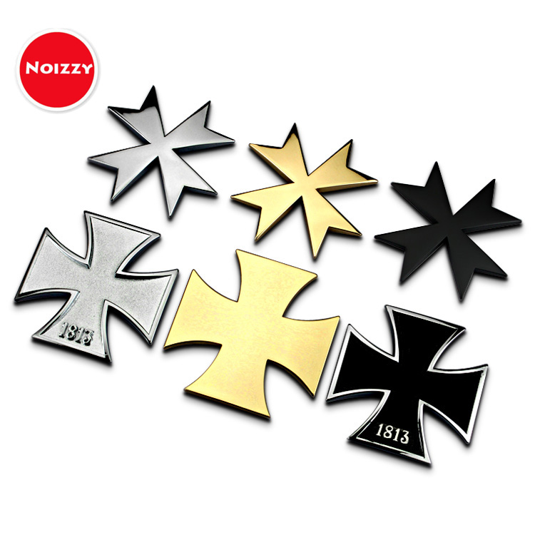 Noizzy Maltese Cross Ho Honor Iron Cross Medal Badge Car Emblem Auto Motorcycle Sticker 3D Metal Chrome Black Tuning Car-Styling mayitr metal 3d black limited edition sticker universal car auto body emblem badge sticker decal chrome emblem car styling