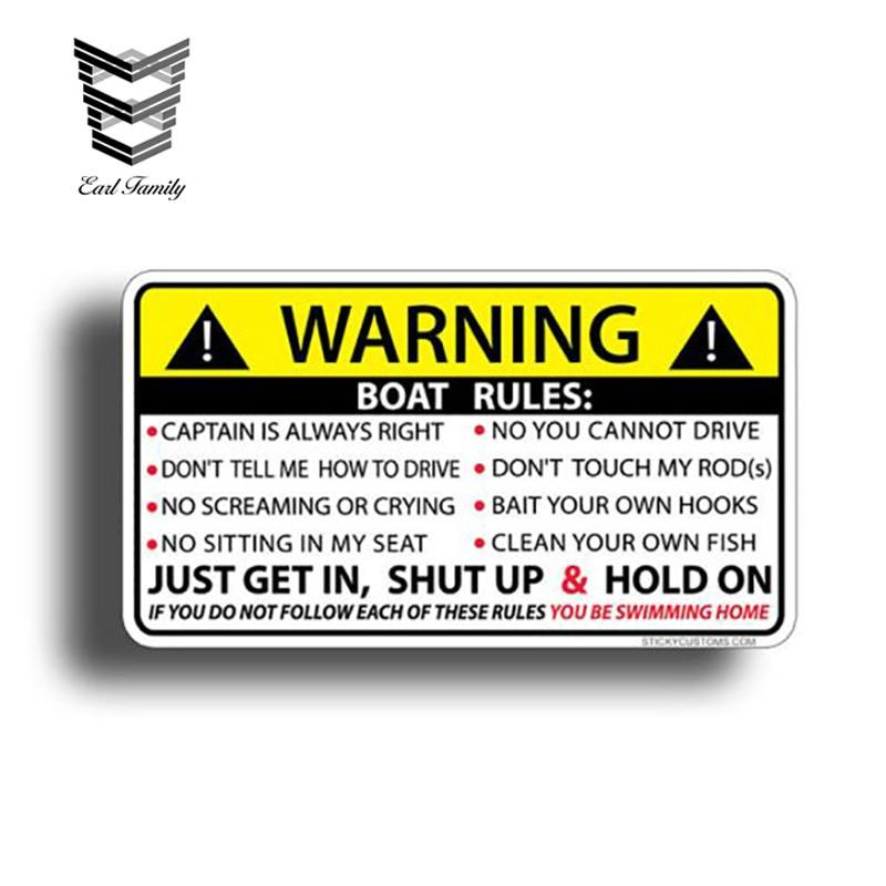 BOAT RULES Warning Sticker Funny Vinyl WaterproofFor Auto Car/Bumper/Window Decal Sticker Decals DIY Decor CT2191