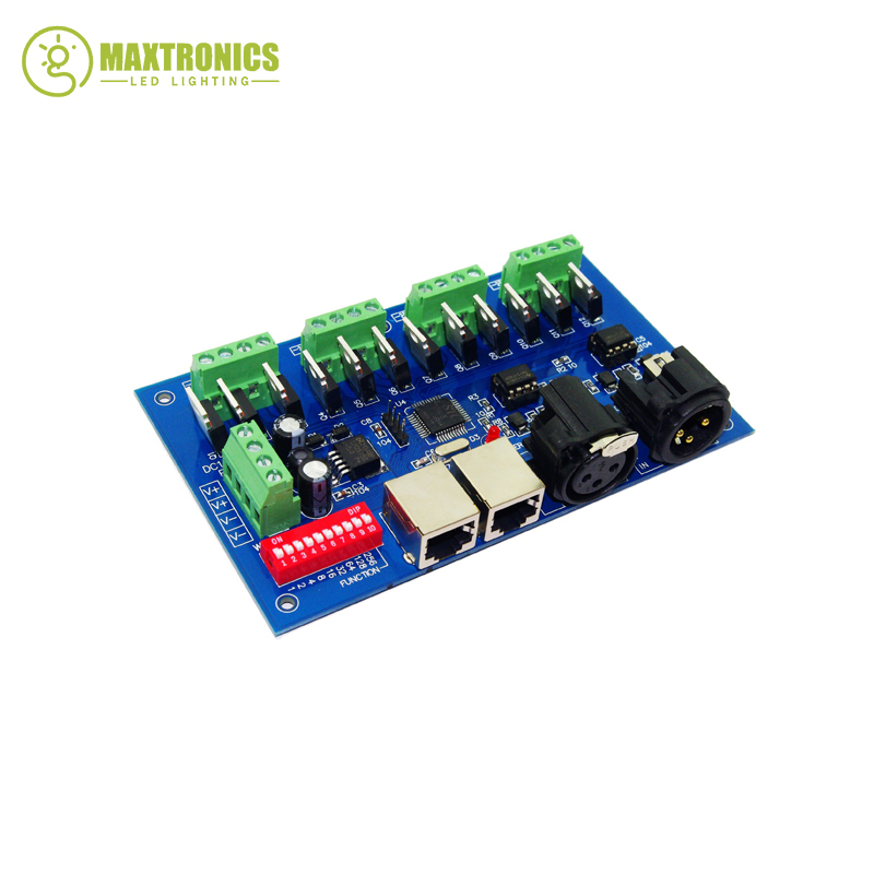 ФОТО 2016 best price 1 pcs 12 channel Max 3A 4 groups with(XLR RJ45) dmx512 decoder Controller use for led strip light