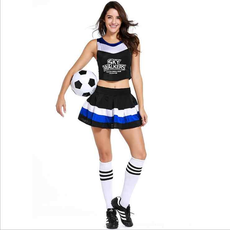 8b1ada77a740 2018 Football Costume Female Sexy High School Cheerleader Costume Girl  sportswear Cheer Fancy Dress