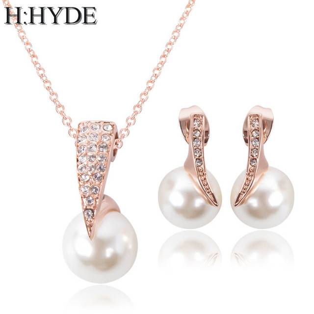 23e1b5fc13 H:HYDE Fashion Imitation Pearl Jewelry Sets Rhinestone Gold Color Necklace  Sets for Women Bridal Wedding Water Drop Earrings