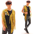 Newly Fashion Male Tassel Mix Match Vest Nightclub Singer Personality ds Stage Costumes