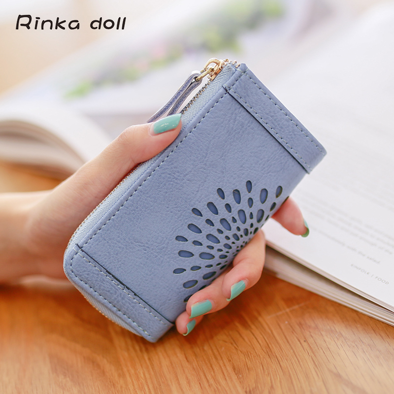 Rinka doll Women Key Wallets Big Capcity High Quality PU Hasp Solid Fashion Women Housekeeper Holders carteira chave Q090