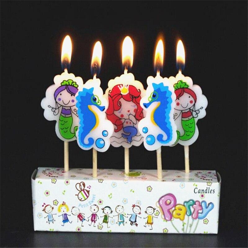5 шт./компл. Русалочка день рождения ремесло Свечи Кекс Свеча топперы детский день рожде ...