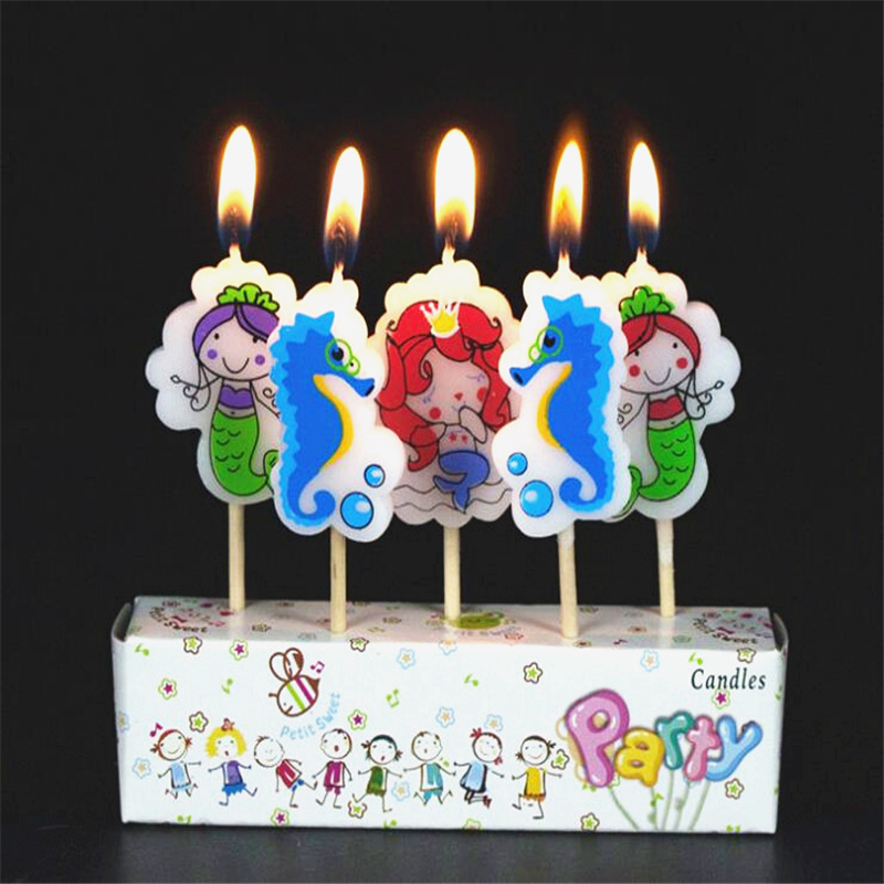 5pcs/set Little Mermaid Birthday Craft Candles Cupcake Candle Toppers Kids Birthday Cake Candles Party Decorations
