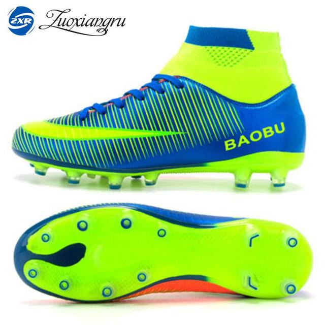 1d51e81aaa7 Newest High Ankle Men Football Shoes Training Professional Soccer Shoes  Long Spikes Hard-wearing Sports Outdoor Lawn Lace-up