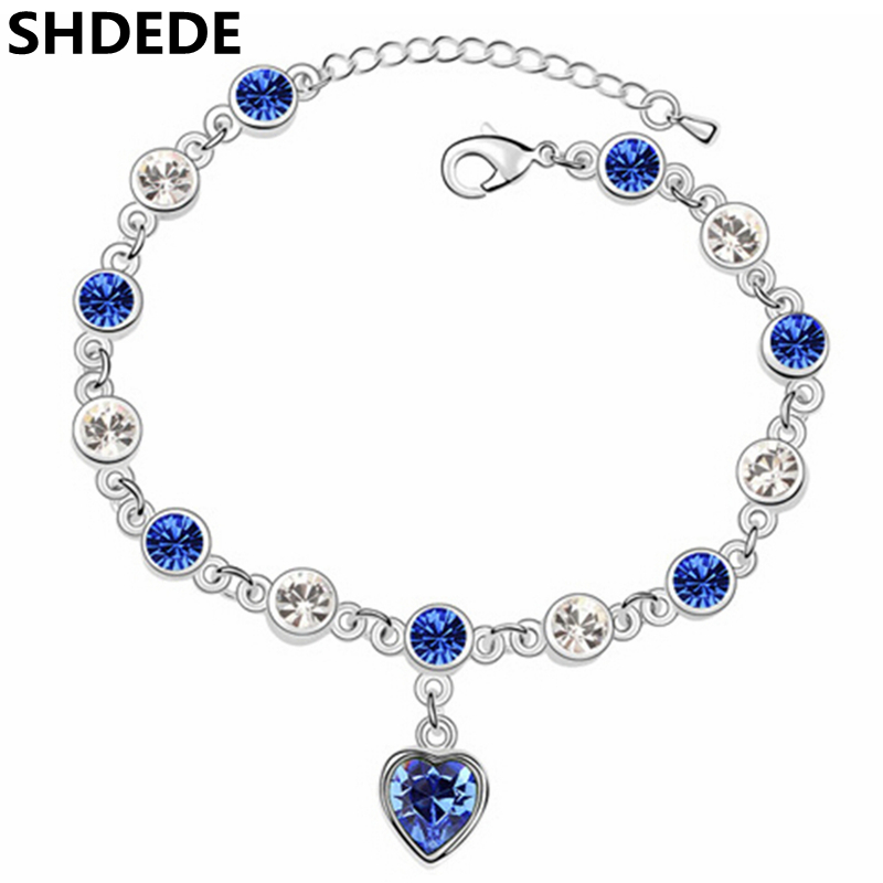 SHDEDE Blue Heart Women Jewelry Fashion Bracelets Crystal from Swarovski Female Gift Accessories -10272 novelty chairs