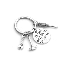 Father's day Gift If Dad Can't Fix It No One Can Handmade Letter Key Chains Rings Holder Wrench Spanner Rule Hammer Daddy Gift