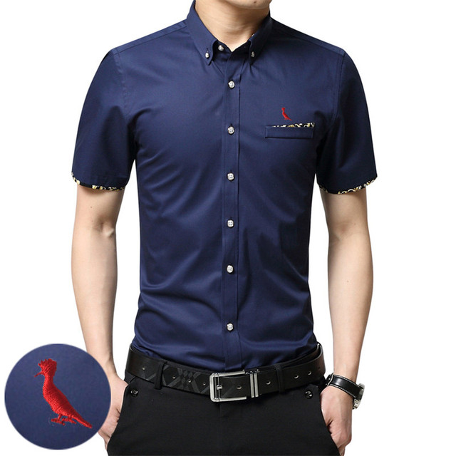 a355a5dc1f Dudalina Camisa Masculina Social Mens Slim Fit Short Sleeves Casual Sergio  k Men Print Embroidered Men s Shirt Plus Size M-5XL