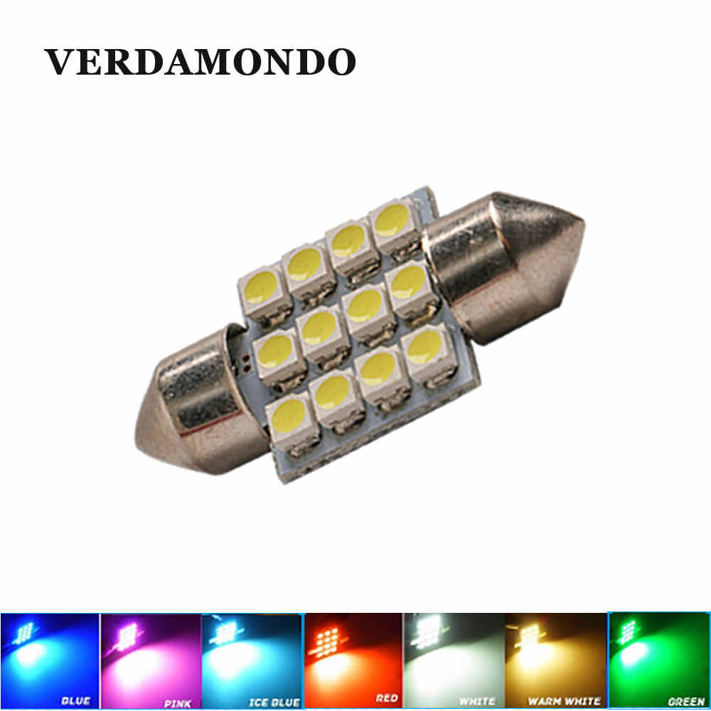 1pcs 31mm 12 SMD 3528 Car Interior Dome Festoon LED Light Bulbs Lamp White Warm white Red Green Blue Ice blue Pink