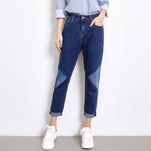 2017 Fashion Women Jeans Plus Size 5XL 6XL Cotton Denim Jeans Mid Wasit Ankle Length Trousers Loose Pants
