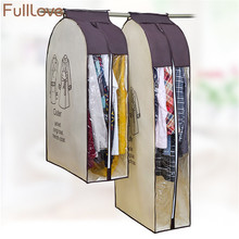 FullLove Non woven Clothes Dust Cover Clear Window Zipper Suits Coats Shirt Dress Hanging Storage Bag Wardrobe Clothes Organizer