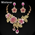Minlover African Beads Jewelry Set Crystal Necklace and Earrings for Women Gold Plated Flower 2016 New Fashion Jewelry MTL470