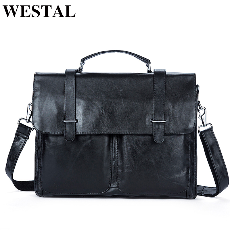 WESTAL Messenger Bag Men s Briefcases Document male bags Genuine Leather man leather laptop bags briefcase