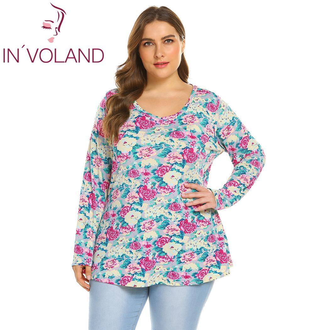 INVOLAND Plus Size Vintage Floral Printed Tee Women Tunic ...