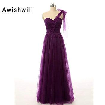 Custom Size Dark Purple Wedding Guest Dress One Shoulder Tulle Lace-up Back Formal Party Dress Long Bridesmaid Dresses